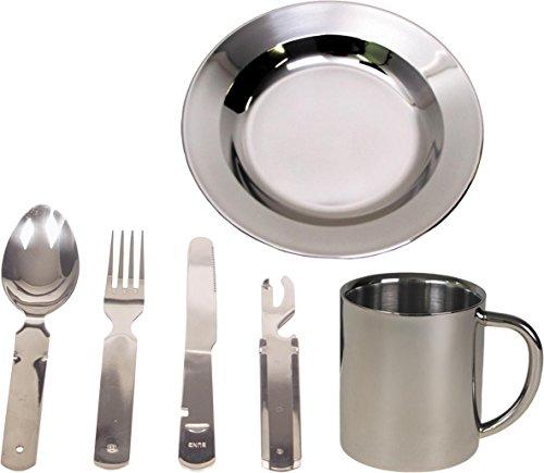Camping Edelstahl Geschirrset Besteck + Teller + Tasse Farbe Silber