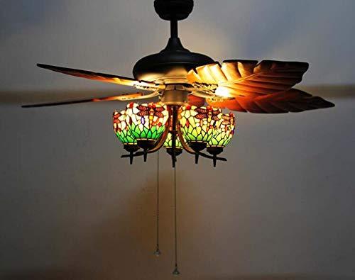5-kopf Retro Tiffany Stil Deckenventilator Licht Kit, Glasmalerei Libelle Schatten Massivholz Bananenblatt Fan Art Kronleuchter für Wohnzimmer Bar Decor Beleuchtung