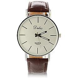 FACILLA® Brown Leather Band Quartz Movement Bracelet Wristwatch Wrist Watch Mens [Watch]