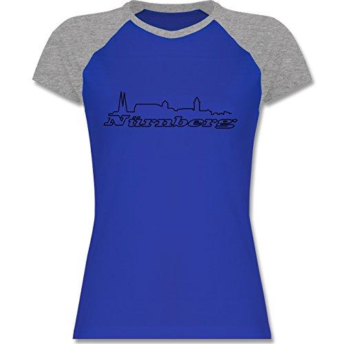 Shirtracer Skyline - Nürnberg Skyline - Zweifarbiges Baseballshirt/Raglan T-Shirt für Damen Royalblau/Grau meliert