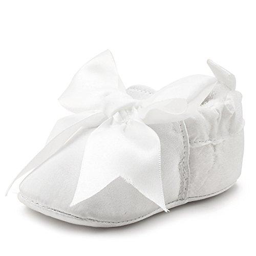 Delebao scarpe battesimo neonato scarpe bambina bianco scarpe primi passi neonato (scarpe,9-12 mesi)