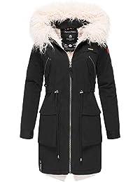 f0eecdea0fbc Marikoo Damen Winter Jacke Stepp Parka Baumwoll-Mantel Winterjacke  Teddyfell warm gefüttert XS - XXL