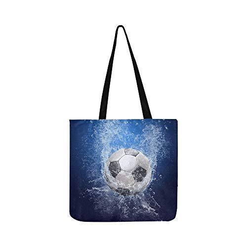 Wassertropfen Um Fußball Auf Leinwand Tote Handtasche Umhängetasche Crossbody Taschen Geldbörsen Für Männer Und Frauen Einkaufstasche