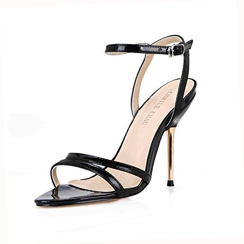 ZHZNVX Sandalen Frauen Sommer Neue Minimalistische Sexy interessant und Veranstaltungsräume mit Eisen Frau Schuhe, Gürtel und Schuhe, die Gitter Waren, 42, Perle Schwarz (Einfach Eine Frau-eisen -)