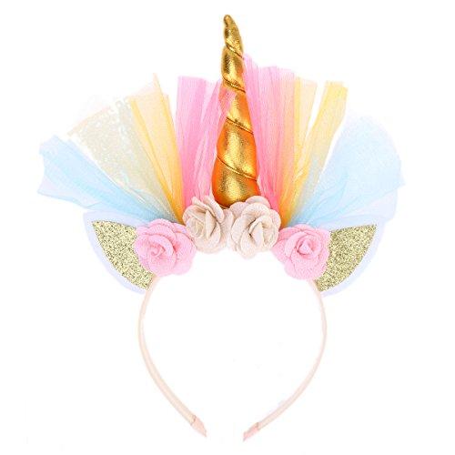 lurrose Einhorn Geburtstag Haarband Hoop Fairy Party Decor für Mädchen (Golden)