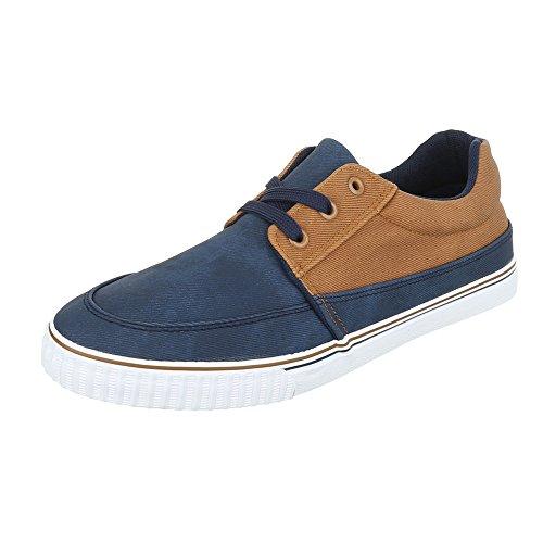 Schnürschuhe Herrenschuhe Oxford Sneakers Schnürsenkel Ital-Design Halbschuhe Dunkelblau Camel