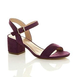 Ajvani Women Ladies Low Block Heel peep Toe Ankle Strap Strappy Party Sandals Size 6 39