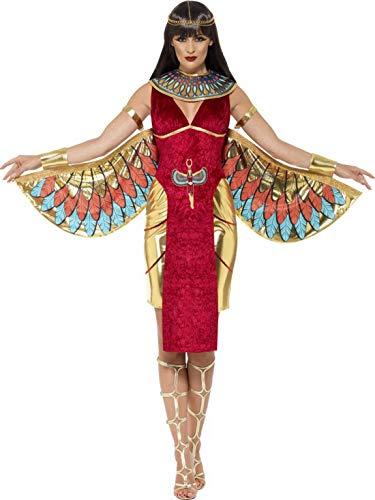 Halloweenia - Damen Frauen ägyptische Göttinen Kostüm mit Kleid, Flügel, Kargen und Kopfschmuck, perfekt für Karneval, Fasching und Fastnacht, S, Rot
