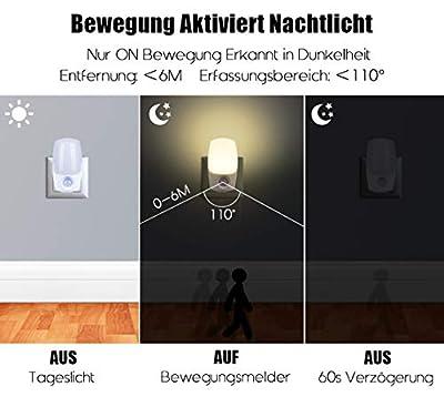 Nachtlicht Steckdose mit Bewegungsmelder und Dämmerungssensor,Emotionlite LED Nachtlicht kind Sehr gut für Kinderzimmer, Treppenaufgang,Schlafzimmer, Küche,Orientierungslicht,WarmWeiß 2700K von Emotionlite auf Lampenhans.de