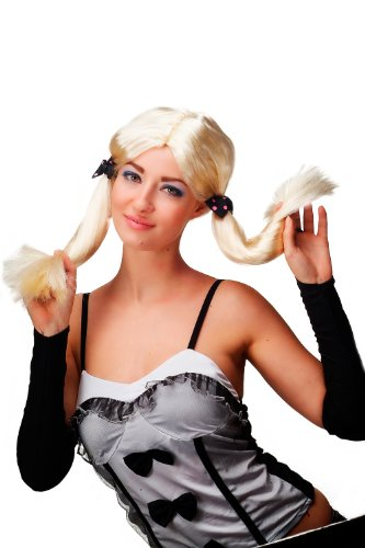 Karneval Fasching Perücke Cosplay Hellblond Blond glatt lang Zöpfe Cute Gothic Lolita (Kostüme Cute Blonde)