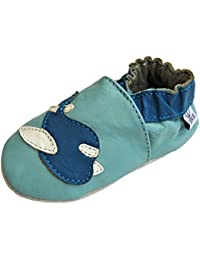 Lappa.de - Zapatillas de piel para niños (suela de goma, tallas de la 19 a la 31), diseño de avión, color azul