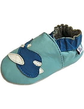 Lederpuschen Hausschuhe Krabbelschuhe Baby Lederschuhe mit Gummisohle Gr.19-31 Lappade Flugzeug blau Art. 99G