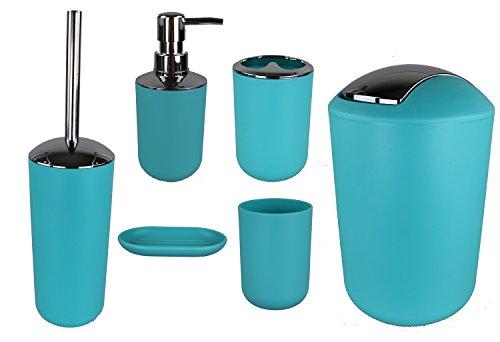 GMMH 6tlg BADSET Badezimmer Zubehör Set SEIFENSPENDER Halter WC Bürste BADGARNITUR (Hell Blau Design 2) (Becher Bad Zubehör)