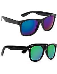 Xforia Boys & Girls Blue & Green Square Wayfarer Sunglasses Combo Offer For Men & Women Discount (Pack Of 2)