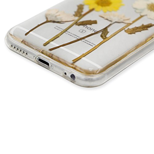 iPhone 6S Hülle Weiches Silikon Gummi Schutz Case,iPhone 6 Stilvoll Elegant Ultra Slim Dünn Passt Perfekt [ Echt Getrocknete Blumen Gepresste ] Klar Kristall Handyhülle,TPU Leicht Mode Soft Bumper Sch Sonnig Sonnenblumen