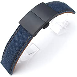 24mm MiLTAT Navy Washed Canvas Watch Band Dark Grey Wax Stitching, Black Deployant Clasp, AB