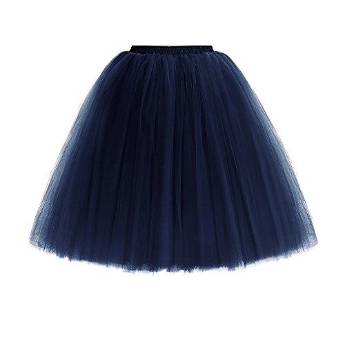 Mangotree Damen Tüllrock 6 Layer Knielanger Tutu Rock Retro Prinzessin Tüll Petticoat Ballettrock Unterrock Pettiskirt für Rockabilly Kleid Partykleid (Taillenumfang: 65-85 cm, Navy blau) (Layer-petticoat Rock)