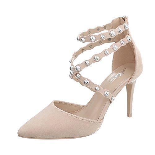 Ital-Design High Heel Pumps Damen-Schuhe Pfennig-/Stilettoabsatz Heels Reißverschluss Beige, Gr 37, B-50- -