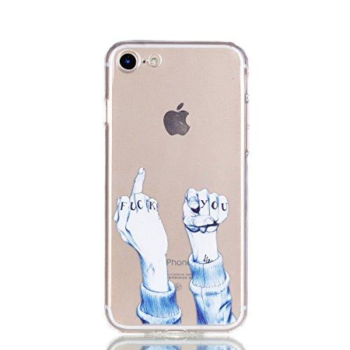 iphone 7 Plus Hülle,iphone 7 Plus Case,iphone 7 Plus Silikon Hülle [Kratzfeste, Scratch-Resistant], Cozy Hut iphone 7 Plus Hülle TPU Case Schutzhülle Silikon Crystal Kirstall Clear Case Durchsichtig,  Mittelfinger und Faust
