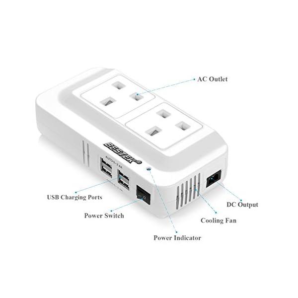 BESTEK 200W Power Inverter DC 12V to AC 230V 240V Dual Socket Car Voltage Converter Transformer with 4 USB Car Charger 2
