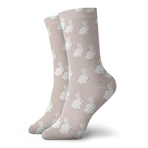 AORSTAR Socken Socks Breathable White Bunny Rabbit Crew Sock Exotic Modern Women & Men Printed Sport Athletic Socks 11.8in (Socke 6 Athletic-crew Pack)