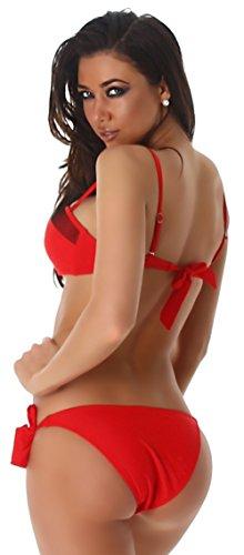 P.F. Damen Bandeau Träger Bikini mit Push-Up & Netzverzierung Rot