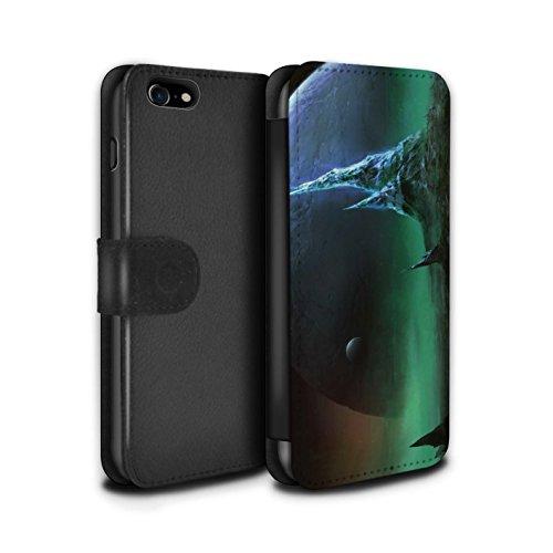 Offiziell Chris Cold PU-Leder Hülle/Case/Tasche/Cover für Apple iPhone 8 / Saphir Spitzen Muster / Fremden Welt Kosmos Kollektion Saphir Spitzen
