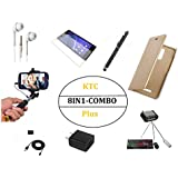 KTCPlus ( 8 IN 1 COMBO ) Full Golden Full Premium Luxury Leather Flip Cover With MINI OTG Adapter,Handsfree(ear Phone),tempered Glass,Selfie Stick Aux Cable,Charging Data Cable,Fast Charging Adapter And Universal Stylus Black Touch Sceen Pen For Oppo A37