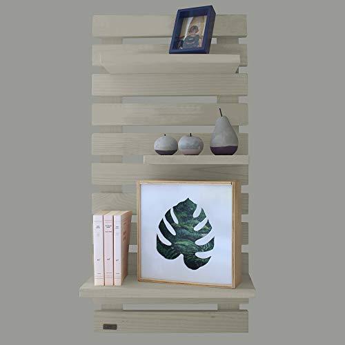 Liza Line ESTANTERÍA DE Pared, Librería Decorativa Regulable con 3 Estantes Flotantes, Mesita de Noche - Madera de Pino Macizo, 101x50x21 cm (Blanco Envejecido)