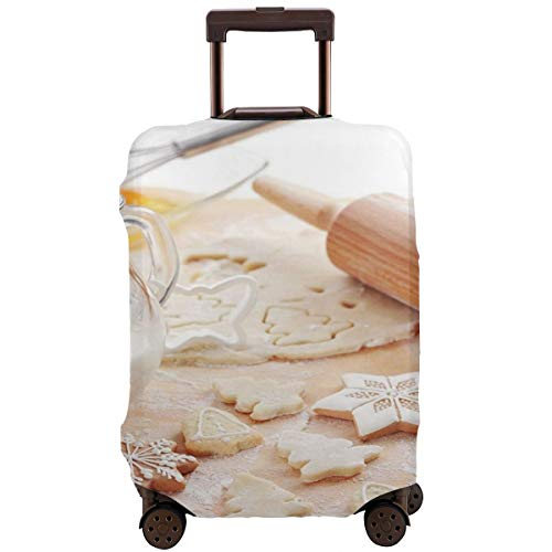 ,Baking Ingredients Scattered In Flour Gingerbread Milk In A Jar Christmas Vibes Suitcase Protector ()