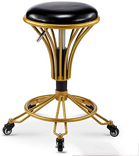 Rezeption Sitzgelegenheiten (MJK Stühle, Sofahocker Flott, Drehbarer Lifthocker, 360 ° drehbarer Make-up-Hocker,Lack Schwarz)