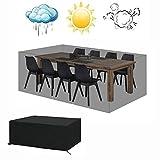 KEANCH Outdoor Copertura mobili da Giardino, Antivento e Anti-UV Tavolo da Giardino Copertine, Tavolo da Giardino e del Coperchio di Protezione Impermeabile Sedia (Color : Black, Size : 125x125x74cm)