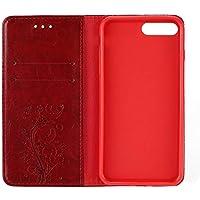 Elegante Blumen-Gedruckte PU-Leder-Telefon-Kasten-Normallack-Shell-Abdeckungs-Stand-Weichen TPU Anti-verkratzen für iPhone 7plus - Rot