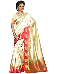Mimosa Women's Tassar Silk Saree With Blouse Piece (2061-2D-Hwt-Gaj,Off White,Free Size)