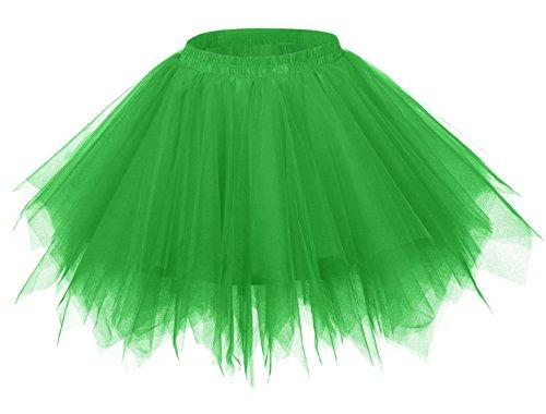 FEOYA Falda Tutu de Ballet para Niñas Skirt Corta Infantil con Capas Cintura Elástica Disfraz Fiesta Verde 30CM