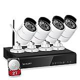 YESKAMO Überwachungskamera Aussen WLAN 1080P 4 Kanal NVR Recorder Kabellos mit 4pcs 2,0 Megapixel CCTV WiFi Kamera Videoüberwachung Set mit 2TB HDD für Bewegungserkennung Nachtsicht