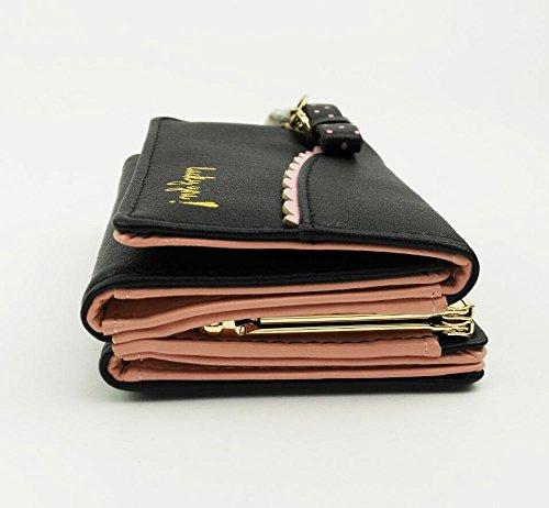 Ylen Trifold Portafoglio Corto Donne Con Pendente Gatto Carino Porta Carte Sacchetto Borsa Cassa di Monete Nero