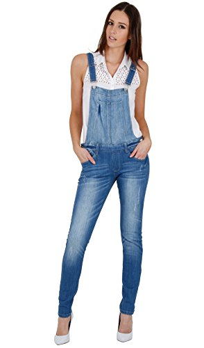 Damen Distressed Rip Denim Latzhose Jeans-Latzhose Frauen WOMDE04 Hellblau 36
