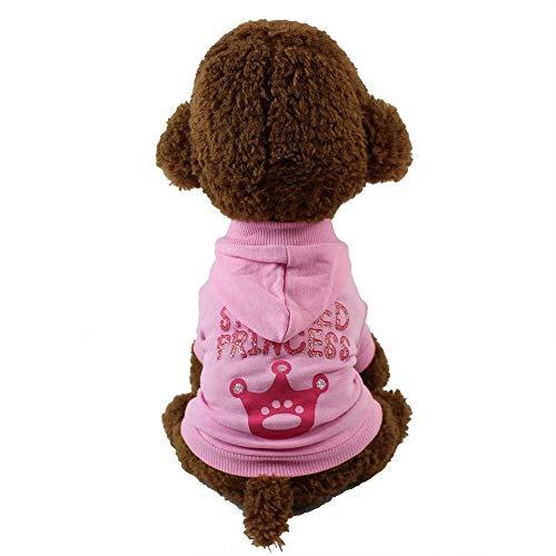 Princess Cute Dogs T-Shirt mit Hut Welpen YAWJ (Farbe : Rosa, größe : S) ()