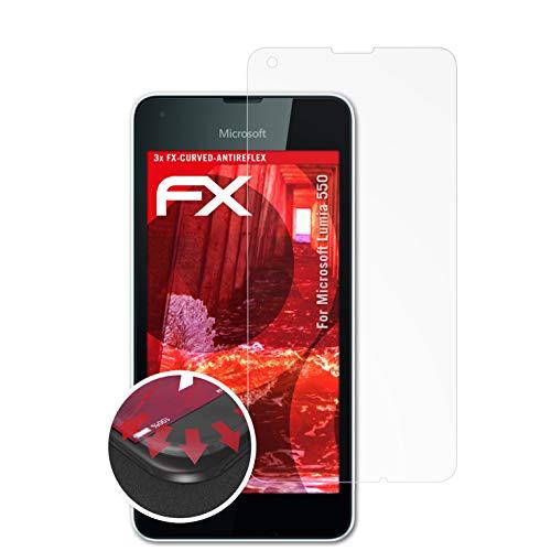 atFolix Schutzfolie passend für Microsoft Lumia 550 Folie, entspiegelnde & Flexible FX Bildschirmschutzfolie (3X)