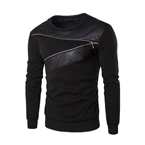 ❤️Veste Homme Sweatshirt Blouson❤️, Amlaiworld Pull d'hiver en Cuir Chaud d'épissage Veste Manteau Outwear Pull (M, Noir)