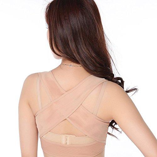 ANGTUO - Corrector postural para mujer (parte trasera en forma de X), mujer, beige, large