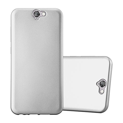 Cadorabo Hülle für HTC ONE A9 - Hülle in METALLIC Silber - Handyhülle aus TPU Silikon im Matt Metallic Design - Silikonhülle Schutzhülle Ultra Slim Soft Back Cover Case Bumper