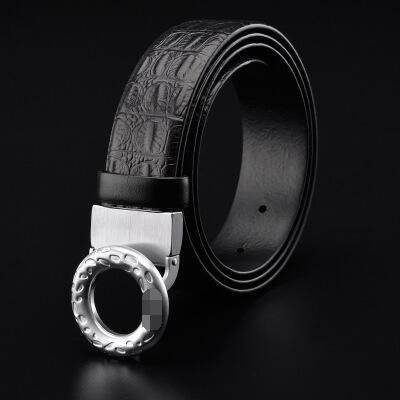 Ceinture de boucle lisse, ceinture de loisirs pour hommes en cuir masculin, la première couche de ceinture en cuir véritable en cuir de crocodile, tête ronde coréenne