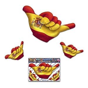 Kleine SPANISCHE Flagge HANG LOSE Shaka-Freundschaft lustige Autoaufkleber - ST00055SP_SML - JAS Aufkleber