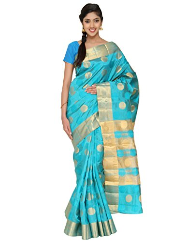 The Chennai Silks - Abstract Floral Circle Butta Jute Silk Saree -Dark Turquoise-(CCSW-424)