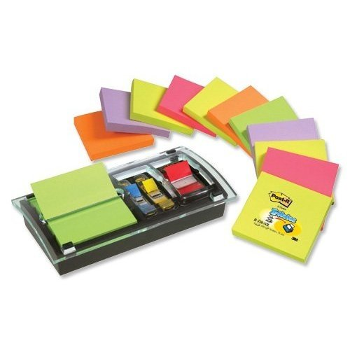 Post-it DS100-VP Z-Notes Spender Promotion (76 x 76 mm inkl. 1 Post-it Z-Notes und Index Spender) 12 Blöcke à 100 Blatt Neonfarben