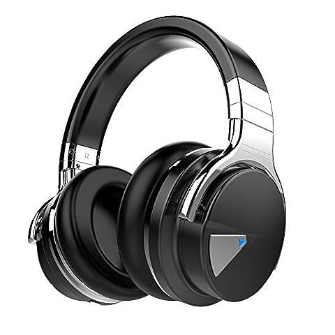 Cowin, E-7, kabelloser Bluetooth-Kopfhörer mit Mikrofon, Over-Ear, Stereo-Headsets, Lautstärkeregler, 30Stunden Laufzeit –Schwarz