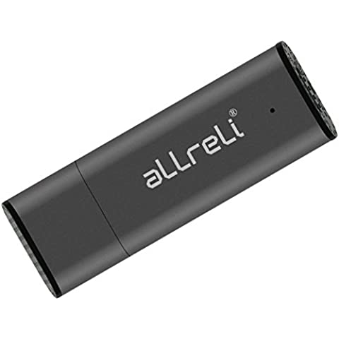 aLLreLi CP00341 8GB Grabadora De Voz Digital Mini USB de grabación Compatible con PC y Mac (Gris)