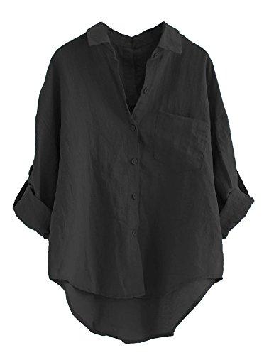 fe0571d3c8c4 MatchLife Damen Leinen Blusen Elegant Langarm Freizeit Oberteil Lose  Langarmshirt V-Ausschnitt Tunika Sommer T-Shirt Top Schwarz XL